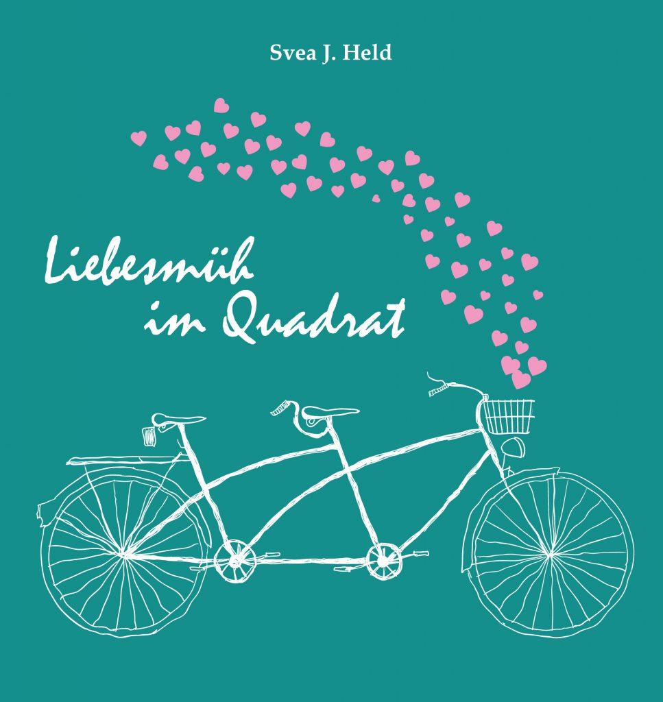 Das Buch Liebesmüh im Quadrat von der Kasseler Autorin Svea J. Held mit gesammelten Kolumnen über die Alltagsmühen mit der Liebe.