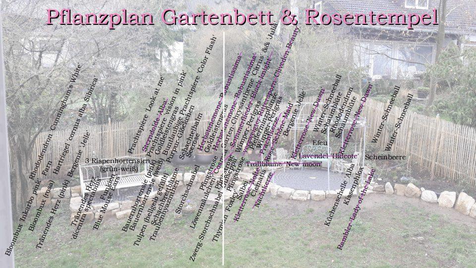 Pflanzplan Gartenbett und Rosentempel
