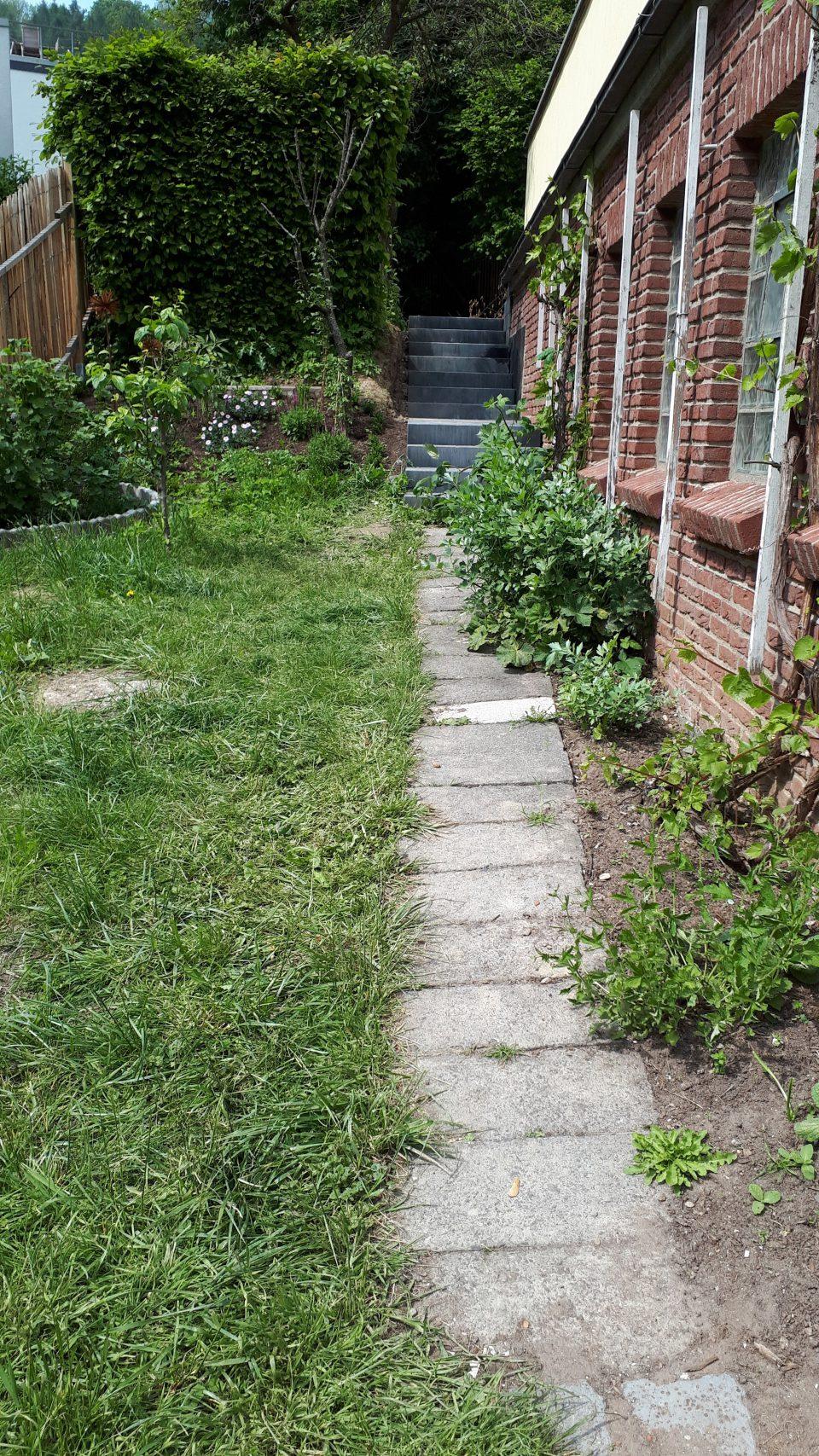 Die alten Betonblöcke als Gehweg neben der Garage, vor der Neugestaltung des Gartens.