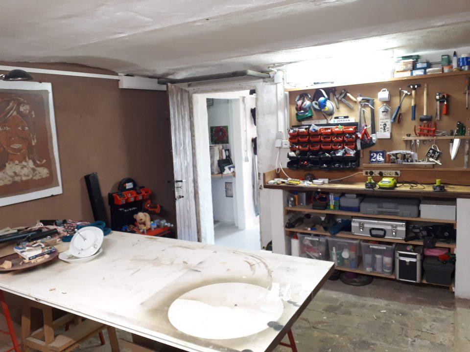 Die Werkstatt im Kellergeschoss nach der Sanierung.