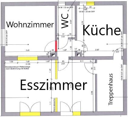 Das Erdgeschoss im Grundriss mit Veränderungen.