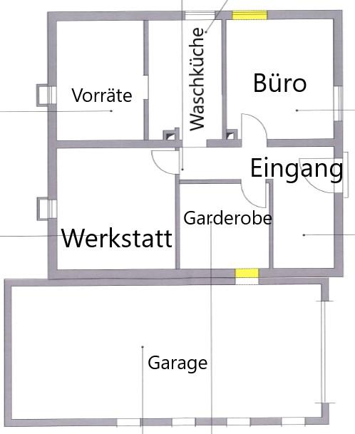 Das Kellergeschoss im Grundriss mit den baulichen Veränderungen.