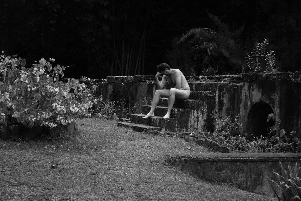 Männer und der Unterhosen Radius in Haus und Garten.