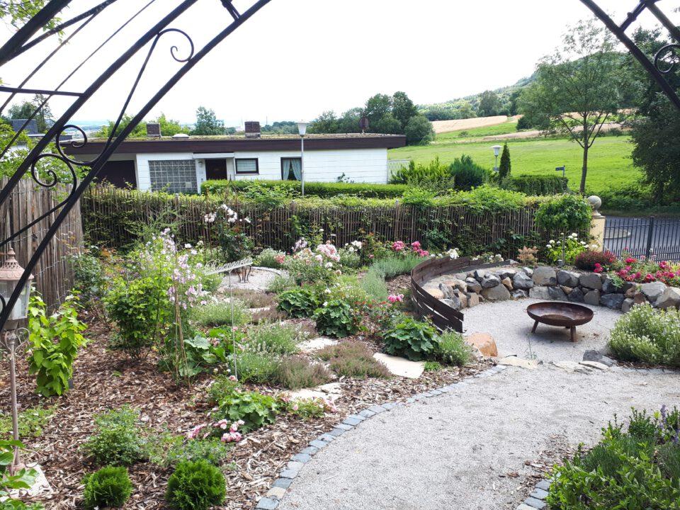 Der Rosengarten im ersten Gartenjahr nach der Bepflanzung