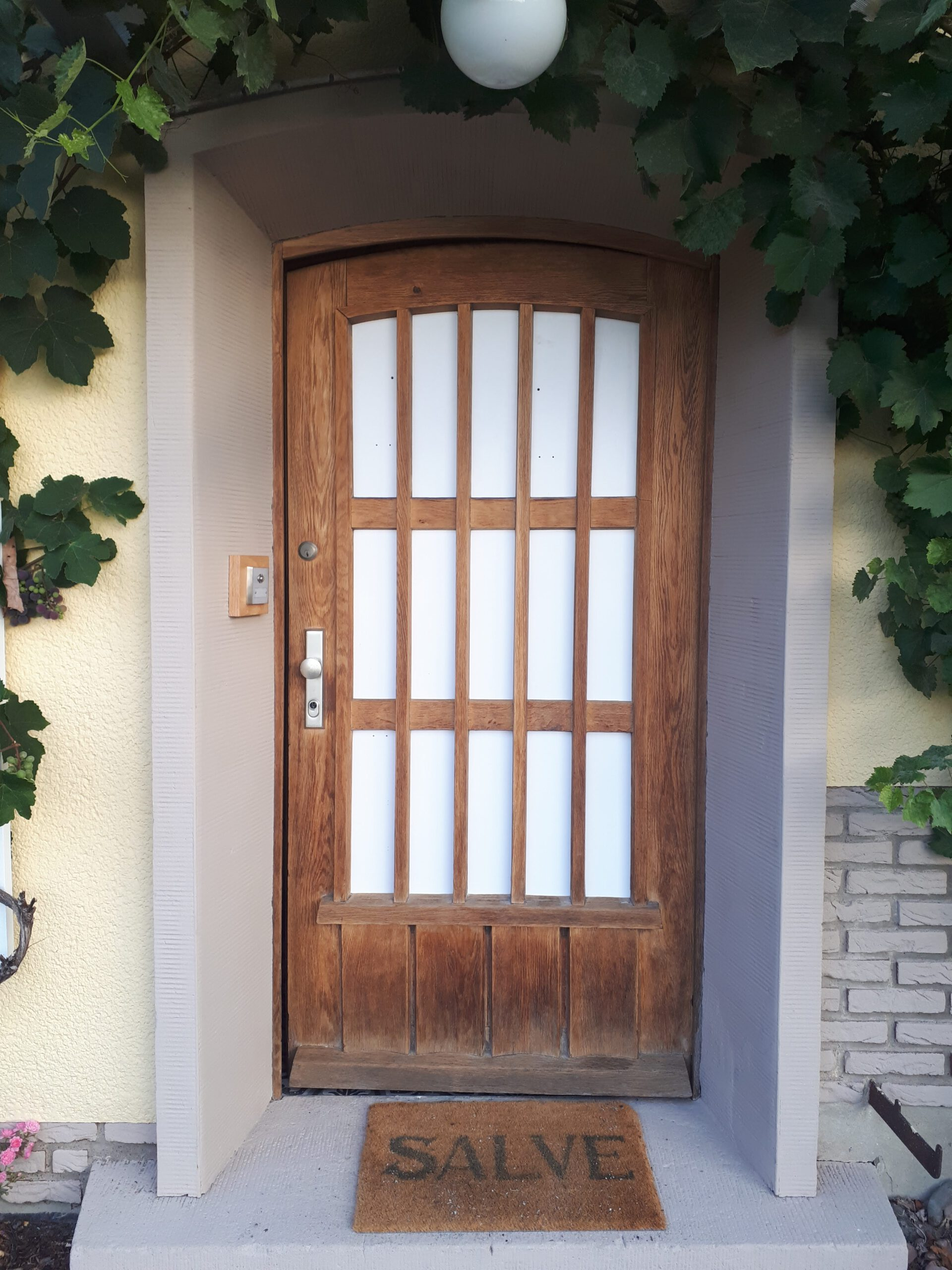 Kunststoffplatten in der alten Haustür während der Sanierung