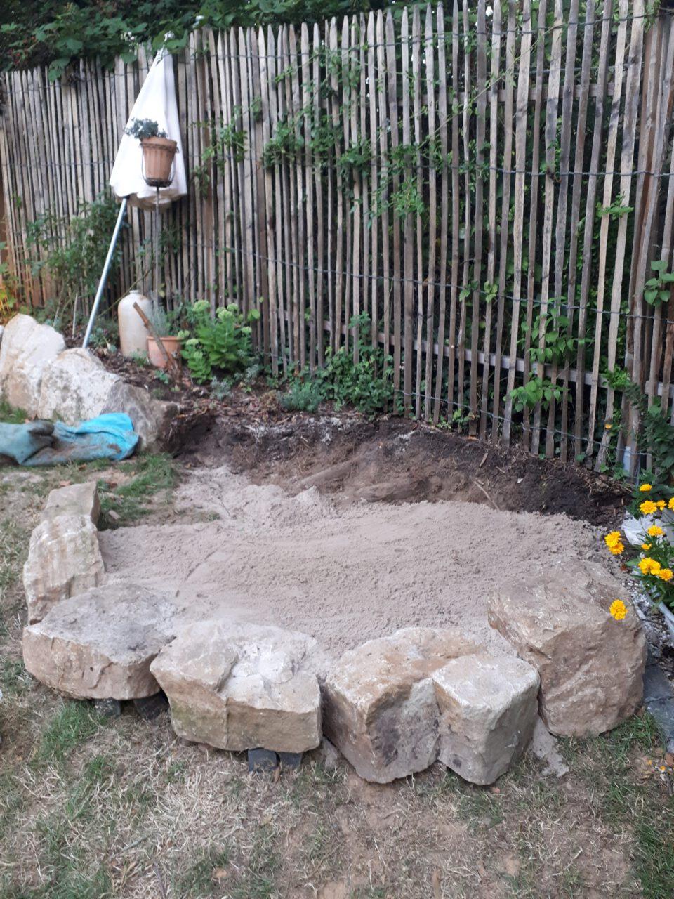 Der Untergrund für den Garten Whirlpool mit Sand